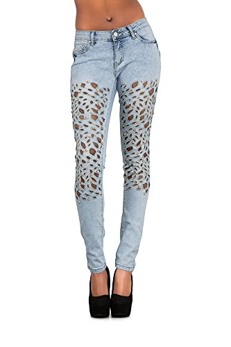 Ripped Lustychic Light Donna Sexy Jeans Blue 0UgAa