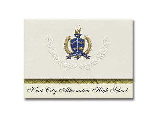 Signature Announcements Kent City Alternative High School (Kent City, MI) Graduation Announcements, Presidential Elite Pack 25 with Gold & Blue Metallic Foil seal