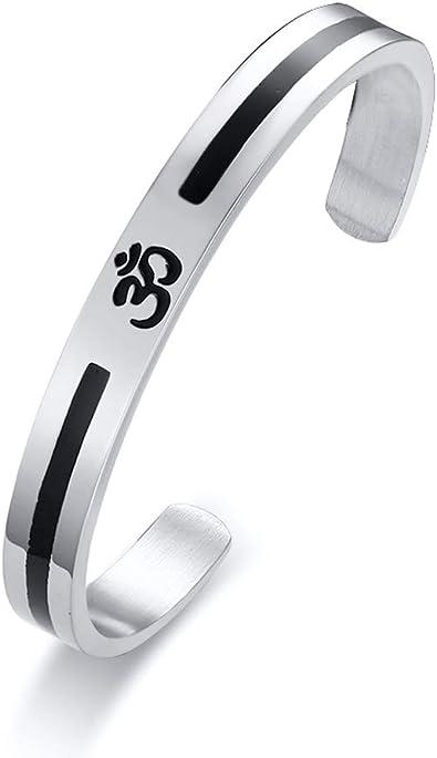 1 x Black Leather OM AUM Symbol Yoga Charm Bracelet Bangle Jewellery Gift
