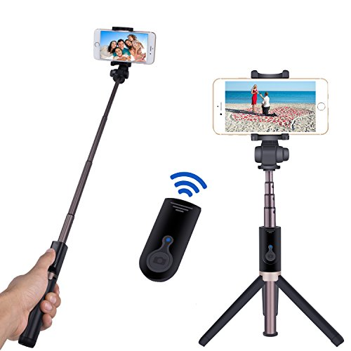 selfie stick bluetooth monopod with foldable tripod stand and remote control extendable aluminum. Black Bedroom Furniture Sets. Home Design Ideas