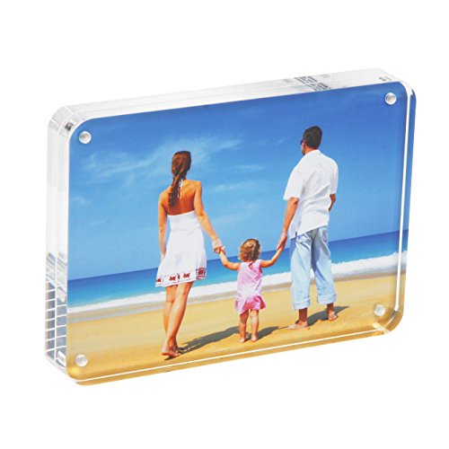 4x6 Acrylic Picture Frame Gift Box Package, Clear Free Standing Desktop Double Sided Magnetic Photo Display(Round - Lucite Glasses