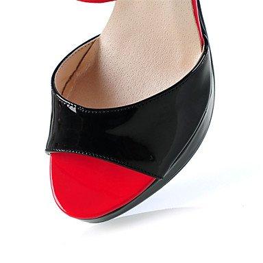 LvYuan Mujer-Tacón Robusto-Innovador Zapatos del club-Sandalias-Vestido Informal-Cuero Patentado Tejido-Azul Rojo Almendra Red