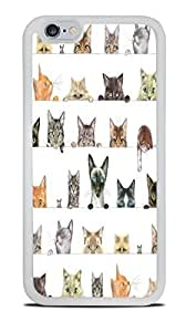 Cute Peeking Cats White Silicone Case for iPhone 6 (4.7) by ruishername