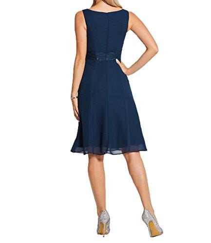 Kleider Partykleider Brautmutterkleider Damen Charmant Kurzes Dunkel Chiffon Blau Damen Knielang Abendkleider Festlichkleider xF7zY