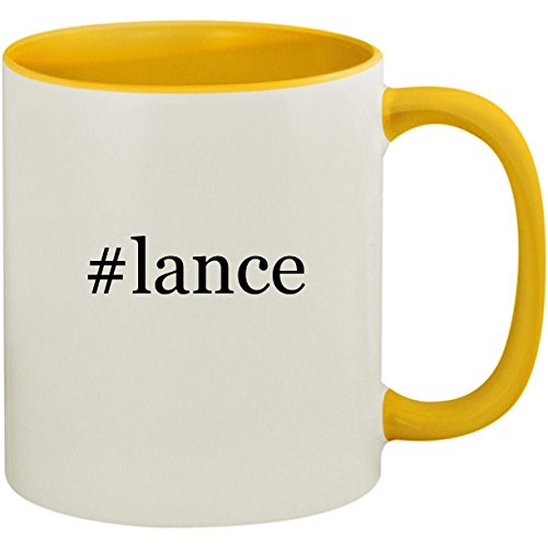 #lance - 11oz Ceramic Colored Inside and Handle Coffee Mug Cup, Yellow