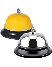 FineGood 2 stuks Call Bells, RVS Chrome Finish Bureau Service Bell voor Hotel Restaurant Keuken School Receptie Gebied - Geel, Zilver