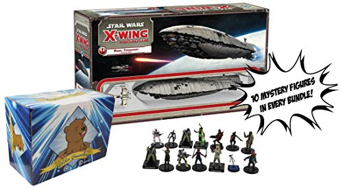 Star Wars X-Wing Miniatures Game Rebel Transport Expansion Pack - 10 Mystery Star Wars Figures and Golden Groundhog Storage Box Included Sold from SCATS (X Wing Miniatures Rebel Transport)
