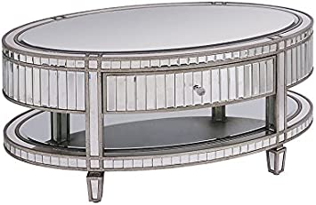 My Furniture Antoinette Toughened Mirror Oval Coffee Table Amazon Co Uk Kitchen Home