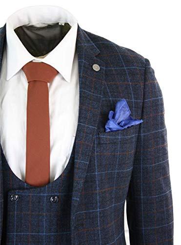 Tweed Vintage Marine 3 Style Carreaux Blinders Croisé Veston Pièces Peaky À Costume Homme Bleu 5PW4Rggc