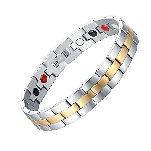- Chaninely Elegant Titanium Magnetic Therapy Bracelet Pain Relief for Arthritis and Carpal Tunnel silver Gold Two Tone 8.5