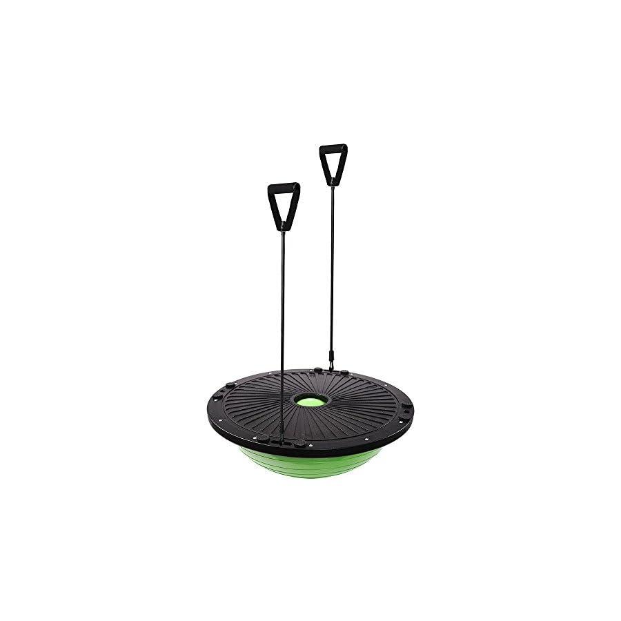 """GHP 22.8""""x9"""" ABS Base Green PVC Yoga Exercise Ball w 2 Elastic Strings & Air Pump"""