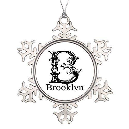 (wonbye Christmas Ornaments 2018, Brooklynne Brooklyn Personalized Family Custom Pattern Metal Snowflake Tree Decoration)