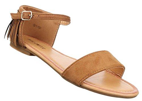 Damen Sandalen Schuhe Dianetten Western Style Fransen Schwarz beige camel gelb 36 37 38 39 40 41 Camel