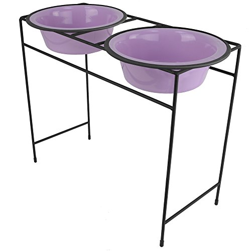 Platinum Pets Double Diner Feeder with Stainless Steel Dog Bowls, 10 cup/80 oz, Sweet Lilac, X-Large