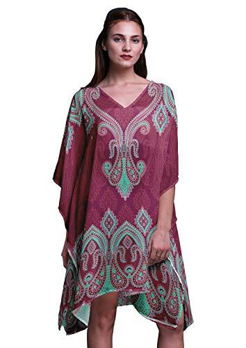29d8f1298e Bourgogne amp; Phagun Femmes Pour Grande Caftan Taille Summer Wear Motif  Kaftan Plus Floral Vert Cachemire ZwHap