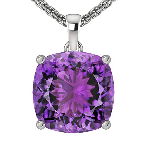 Belinda Jewelz Womens 14k White Gold Cushion Shape Cut Gemstone Rhodium Plated Sparkling Prong Real Sterling Silver Fine Jewelry Classic Chain Hanging Pendant Necklace, 3 Ct Amethyst Purple, 18 ()