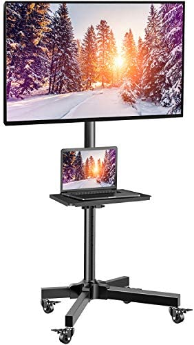 Mobile TV Cart with Wheels for 23-55 Inch LCD LED 4K Flat Curved Screen TVs - Height Adjustable Shelf Trolley Floor Stand Holds as much as 55lbs - Movable Monitor Holder with Tray Max VESA 400x400mm
