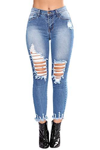 Dchir Gland Denim Jeans Skinny Femmes Bleu Dtruits pour Ourlet Mince Pantalon ZCBqtwOt