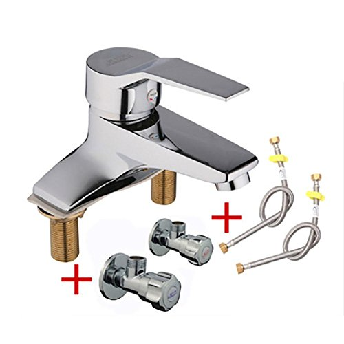 (DDY Bathroom sink faucet hot and cold full copper basin single bowl mixing valve , D)