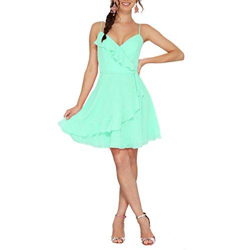 Spaghetti Short Green Ruffle Dresses Strap Bridal Women's Mint neck Bridesmaid Beauty Chiffon V RxqwvaqYI7