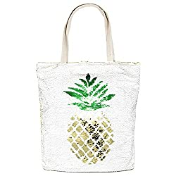 Large Beach Tote Bag With Zipper Closure