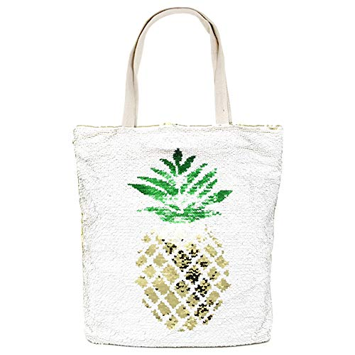 by you Women Summer Large Beach Tote Bag Travel Tote Bag Zipper Closure Shoulder Bag (Sequin Pineapple)