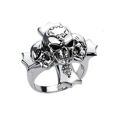 Silver Smile Solid Sterling Silver Triple Skull Cross Ring for Men, Skull Biker - Ring Sterling Solid Skull Silver