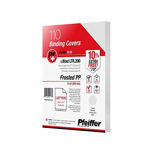 Pfeiffer Frosted Transparent PP Front Binding Covers Letter Size, 8 mil (200 mic); 110-Pack (PFC2PP2010C2)