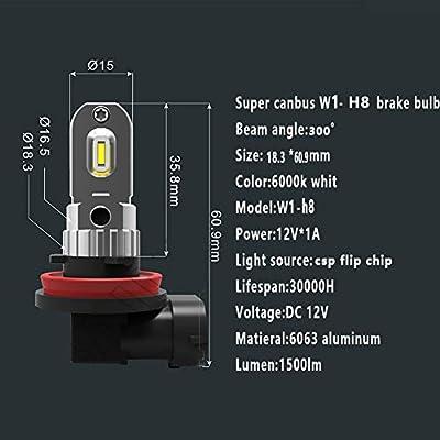 warranty 18 months 2pcs h11 led bulbs 6000k white 12V to 24V csp chip 2 sides emittant anti-error ODB led lamp H8 H9 h16 replacement original halogen fog and DRL 1500lm high power
