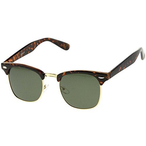 zeroUV - Half Frame Semi-Rimless Horn Rimmed Sunglasses (Tortoise-Gold / - Tortoise Sunglasses Gold