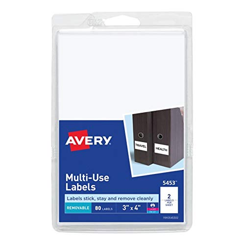 Avery Self-Adhesive Removable Labels, 3 x 4 Inches, White, 80 per Pack (5453)