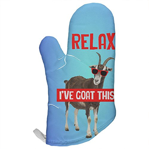Relax I've Got Goat This Funny All Over Oven Mitt Multi Standard One Size by Animal World