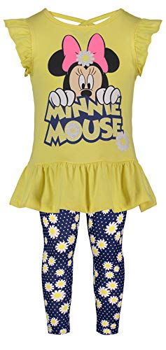 - Disney (974222MIS) Girls' Minnie Mouse Short-Sleeve Fashion Shirt & Capri Legging Outfit Set 4-6X in Daisies, 5