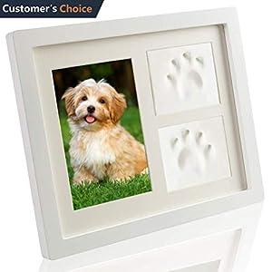 SCIROKKO Pet Memorial Picture Frame - Paw Print Kit with Clay - Pet Keepsakes Kit - Remebrance Decor 4