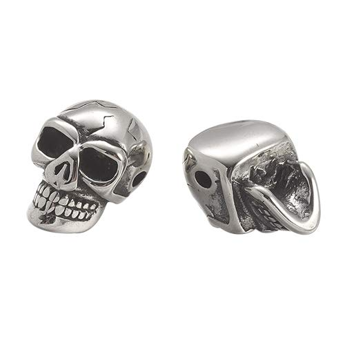 PH PandaHall 10pcs 1.5mm Stainless Steel Skull Spacer Beads Charms European Beads Antique Silver for Necklace Bracelet Pendants Jewelry DIY Accessories (Silver Sterling Bead Skull)