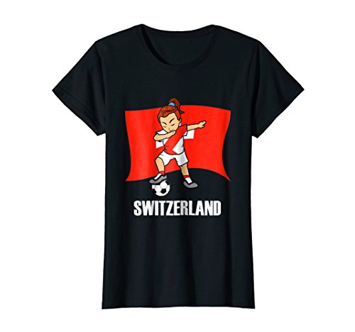 Dabbing Soccer Girl Switzerland Soccer Jersey (Soccer Player And Referee Costume)