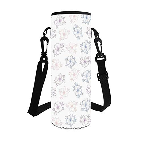Anemone Flower Stylish Bottle Sleeve,Bridal Corsage Design Garden Bedding Plants in Soft Colors Decorative for Bottle & Vacuum Cup,3.1''L x 3.1''W x 7.4''H