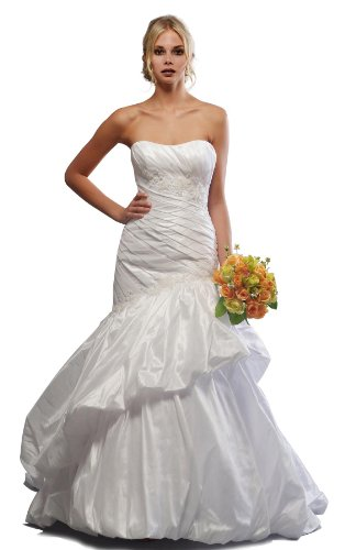 Wedding & Events Princess Court Train Sweetheart Taffeta Wedding Dresses - White - Size 22 Plus