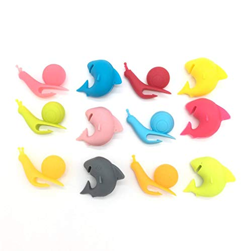 Glass Drink Markers Set-12 Mini Shark And Snail Shape Tea Bag Holder Silicone Wine Glass Charms Reusable Glass Identifiers By Lofekea