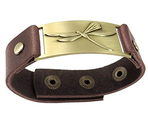 Dragonfly Cuff Bracelet - Dragonfly bracelet with Chocolate brown leather snap band