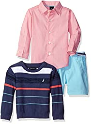 Nautica Boys\' Button Down Shirt, Sweater and Twill Short, Ink, 24 Months