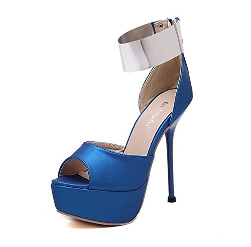 7' High Heels Peep Toe (Yilaiyiqu_1 Popular Womens Peep Toe Platform Pumps Stiletto High Heels Shoes Blue35 M EU / 4 B(M) US)