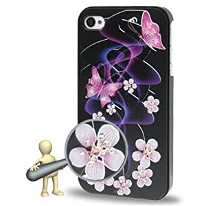 DapurMu - 3D Color Focus Effects Butterfly Pattern Diamond Encrusted Plastic Case for iPhone 4 & 4S