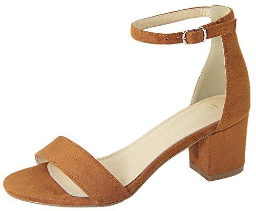 Bella Marie Women's Strappy Open Toe Block Heel Sandal (10 B(M) US, Tan IMSU)