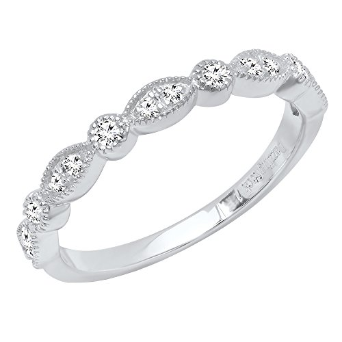 Dazzlingrock Collection 0.25 Carat (ctw) 10K Round Diamond Ladies Vintage Style Wedding Band 1/4 CT, White Gold, Size 6.5