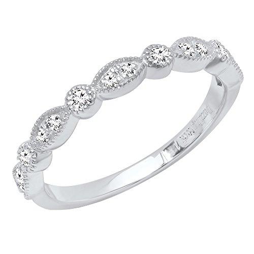 Dazzlingrock Collection 0.25 Carat (ctw) 10K Round Diamond Ladies Vintage Style Wedding Band 1/4 CT, White Gold, Size 9