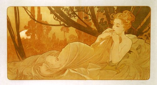 1899 Dawn and Dusk Lady Sleeping Right Side by Alphonse Mucha was a Czech Art Nouveau Painter and Decorative Artist 16