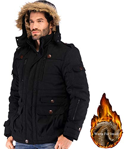 Yozai Mens Military Winter Coat with Multi Pockets and Detachable Fur Hooded Black Large