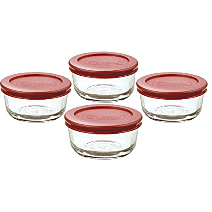 fcfd633e7d Amazon.com: Anchor Hocking Classic Glass Food Storage Containers with Lids,  Red, 1 Cup (Set of 4): Kitchen Storage And Organization Product Sets:  Kitchen & ...