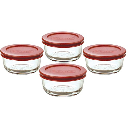Anchor Hocking Classic Glass Food Storage Containers with Lids, Red, 1 Cup (Set of 4)
